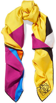Loewe Striped Silk-twill Scarf - Yellow