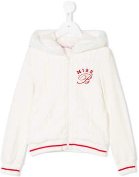 Miss Blumarine glittery logo knitted hoodie