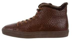 Aquatalia Shearling-Lined High-Top Sneakers