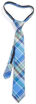 Nordstrom Boy's Plaid Silk Zipper Tie