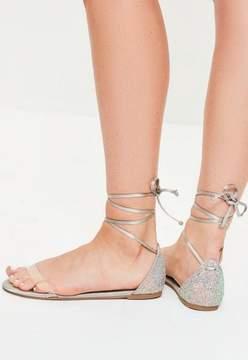 Missguided Grey Glitter Back Flat Sandals