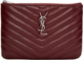Saint Laurent Burgundy Quilted Monogram Bag Pouch
