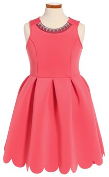 Soprano Girl's Scallop Hem Scuba Dress