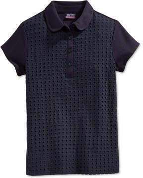 Nautica School Uniform Eyelet Polo Shirt, Big Girls (7-16)