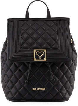 Love Moschino Faux-Napa Quilted Backpack, Black