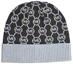 Michael Kors Womens Hat Circle Logo Dazzling Knit Beanie Black Grey