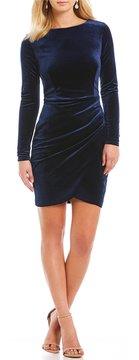 B. Darlin Open-Back Velvet Sheath Dress