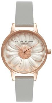 Olivia Burton Women's 3D Daisy Leather Strap Watch, 30Mm