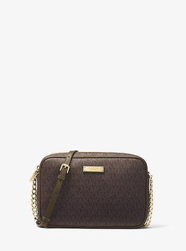 Michael Kors Jet Set Travel Logo Crossbody - BROWN - STYLE