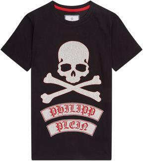 Philipp Plein Diamanté Skull Logo T-Shirt
