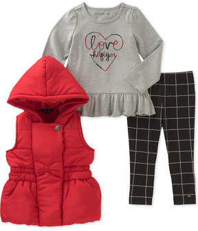 Tommy Hilfiger 3-Pc. Hooded Puffer Vest, Graphic Top & Leggings Set, Baby Girls (0-24 months)