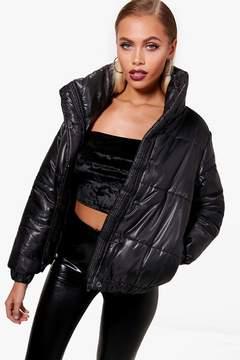 boohoo High Shine Crop Puffer Jacket