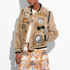 COACH SHEARLING VARSITY JACKET WITH PATCHES - BEIGE