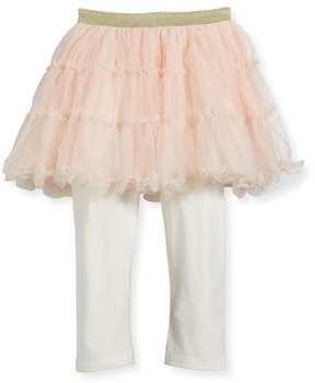 Billieblush Jersey Leggings w/ Attached Tulle Skirt, Size 2-3