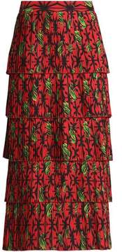 Stella Jean Tiered Pleated Printed Crepe Midi Skirt