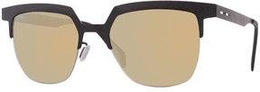 Italia Independent I-Metal Leather-Style Cat-Eye Sunglasses, Black