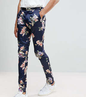 Asos TALL WEDDING Super Skinny Suit Pants With Navy Floral Print