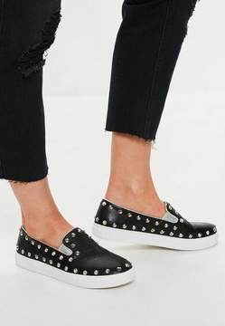 Missguided Black Stud Slip On Sneakers