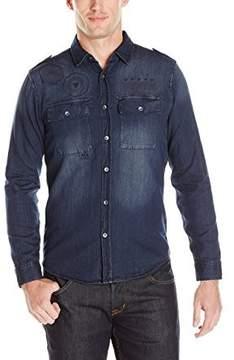 GUESS Men's Slim Denim Button Down Shirt in Rally Blue Wash