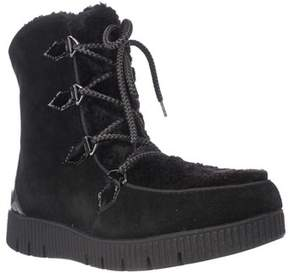 Sporto Cream Platform Lace Up Winter Boots, Black.
