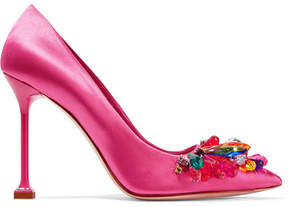 Miu Miu Crystal-embellished Satin Pumps - Pink