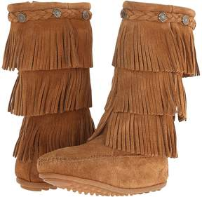 Minnetonka Kids - 3-Layer Fringe Boot Girls Shoes