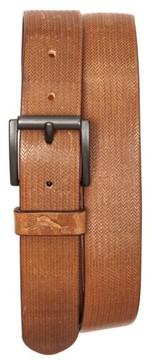 Tommy Bahama Men's Herringbone Embossed Leather Belt