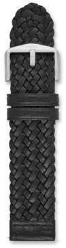 Fossil 22mm Black Leather Braided Watch Strap