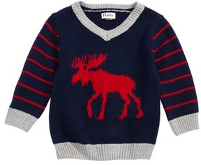 Hatley Infant Boy's Moose Intarsia V-Neck Sweater