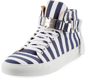 Buscemi Men's 100mm Striped Canvas High-Top Sneaker, Blue Ink