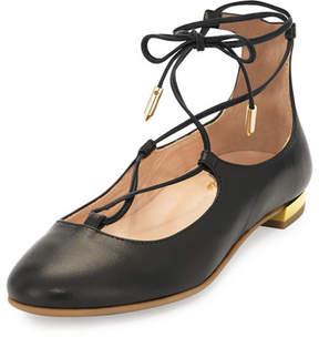 Aquazzura Christy Mini Leather Lace-Up Flat, Black, Toddler/Youth Sizes 11T-2Y