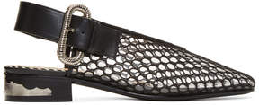 Toga Pulla Black Mesh Slingback Loafers