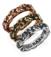 King Baby Studio Sterling Silver Temple Ruin Multicolored Stacking Rings