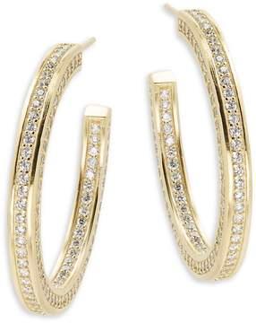 Freida Rothman Women's Classic Radiance Cubic Zirconia & 14K Gold-Plated Sterling Silver Hoop Earrings- 1.5in