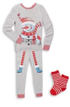 Petit Lem Little Girl's Three-Piece Pajama Snowman Cotton Top, Pants and Socks Set