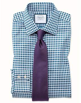 Charles Tyrwhitt Extra Slim Fit Non-Iron Gingham Teal Cotton Dress Shirt Single Cuff Size 15/32