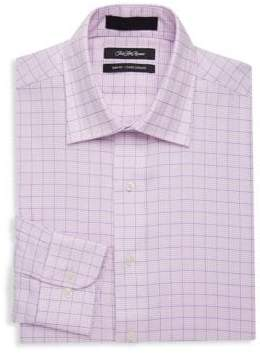Saks Fifth Avenue BLACK Slim-Fit Houndstooth Cotton Dress Shirt