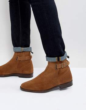 Asos Chelsea Boots In Tan Suede With Leather Panel And Strap Detail