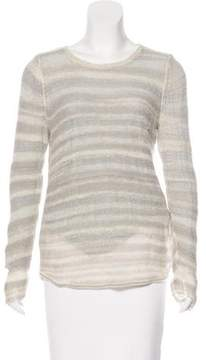 White + Warren Open-Knit Long Sleeve Top