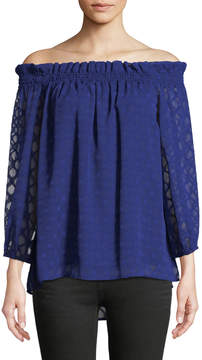 Cynthia Steffe Cece By Off-The-Shoulder Jacquard Blouse