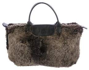 Longchamp Leather-Trimmed Rabbit Le Pilage Tote