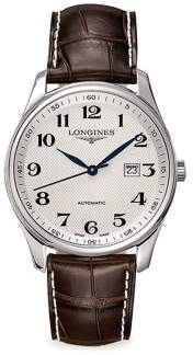 Longines Master Collection Round Leather Strap Watch