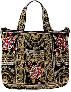 Johnny Was Leith Embroidered Velvet Tote Bag
