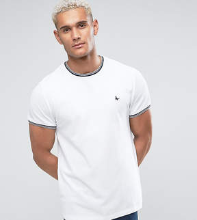 Jack Wills Gunnersbury Slim Fit Pique Tipped T-Shirt In White