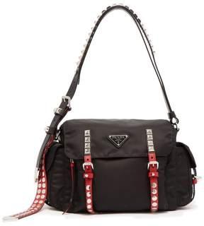 Prada Vela Leather Trimmed Cross Body Bag - Womens - Black Multi