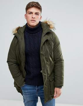 Solid Arctic Parka With Faux Fur Lined Hood