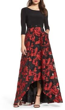 Adrianna Papell Women's Rose Organza High/low Maxi Dress