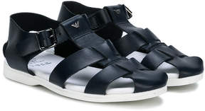Emporio Armani Kids cage buckled sandals