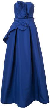 Carolina Herrera strapless gown with ruffled bodice and flared skirt