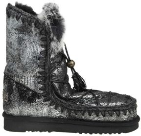 Mou Boote eskimo Dream Lace Up & Fur In Laminated Leather And Black